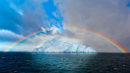Rainbow over Iceberg - Sea, Icebergs, Nature, Rainbows, Clouds, Sky