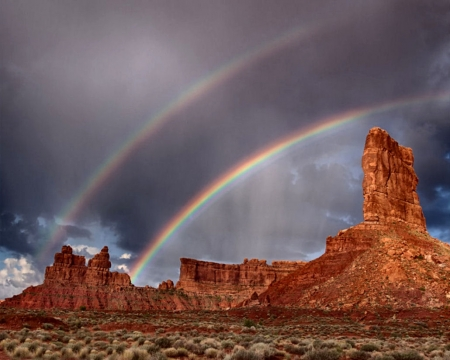 Rainbows at Valley of the Gods F1C - Valley of the Gods, photo, USA, National Park, double rainbows, beautiful, rainbows, photography, nature, scenery, landscape, Utah