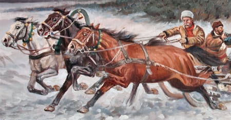 Russian Troika Sleigh - sleigh, troika, art, equine, beautiful, Russian, horse, artwork, animal, painting, wide screen