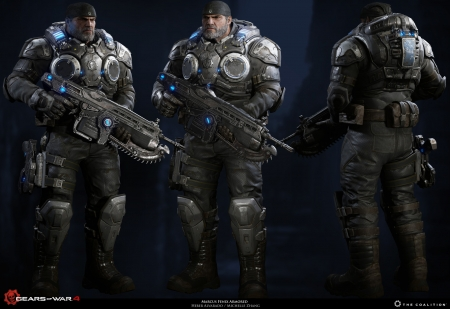 Marcus Fenix - armor, male, video games, man, Gears of War 4, weapon, lancer