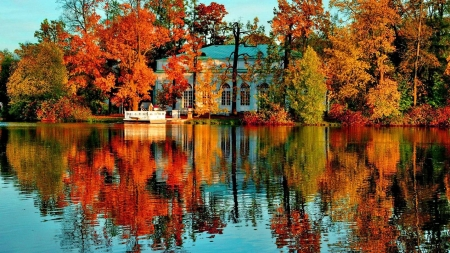 crystal Lake - autumn, house, park, trees, lake, foliage, mirrored, nature, reflection