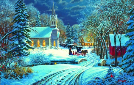 Heavenly light - sleigh, art, house, christmas, church, winter, cold, snow, painting, heaven, village, scene, light, frost