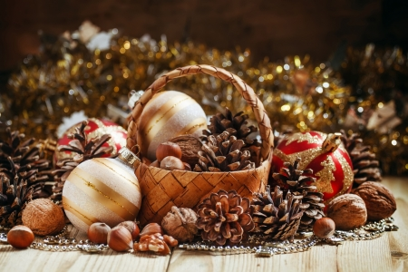 Ready for the Holidays - walnuts, Christmas, holiday, tinsel, winter, pine cones, sparkle, nuts, decorations, basket, natural
