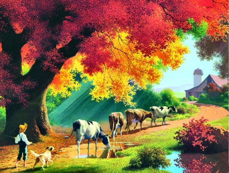 Autumn Close of the Day FC - art, silo, beautiful, pets, artwork, canine, barn, boy, painting, wide screen, farm animals, dogs, cows