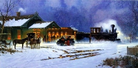 Home for the Holidays - house, christmas, snow, cart, horse, winter