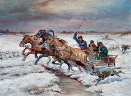 Troika Sleigh in Snow C - troika, art, equine, beautiful, Russian, horse, artwork, animal, painting, wide screen, wolves