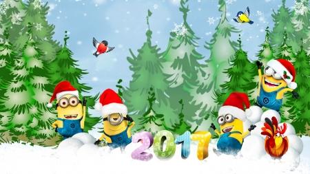 Minions Christmas 2017 Winter Nature Background