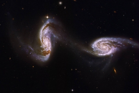 Arp 240 A Bridge between Spiral Galaxies from Hubble - stars, cool, space, fun, galaxies