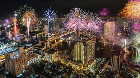 Bangkok - architecture, skyscapers, buildings, fireworks, bangkok
