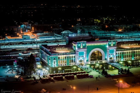 Railway station, Novosibirsk - railway station, night city, Novosibirsk, winter, winter night