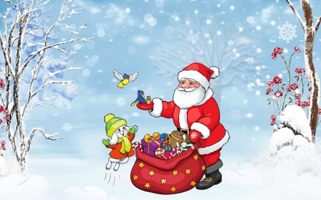 Santa's Gifts - candy, Christmas, bag, mittens, flowers, sack, stars, candy canes, hats, birds, Santa Claus, Santa, trees, winter, snow, snowflakes, presents, bunnies, branches, gifts