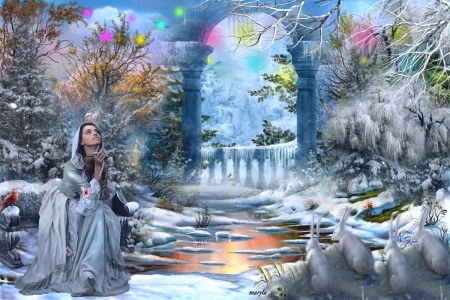 Fantasy winter nature - gate, magical light, magic, roses, trees, lake, winter, fantasy girl, bird, snow, river, icicles, bunnies, star, frost