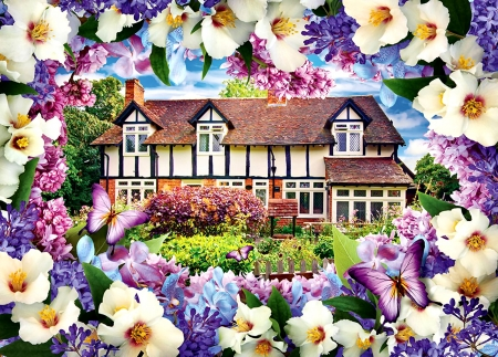 Lilac Cottage F - art, lilacs, cottage, scenery, butterflies, landscape, wide screen, beautiful, architecture, artwork, painting