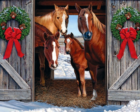 Christmas Horse Pictures.Horse Barn Christmas F1 Horses Animals Background