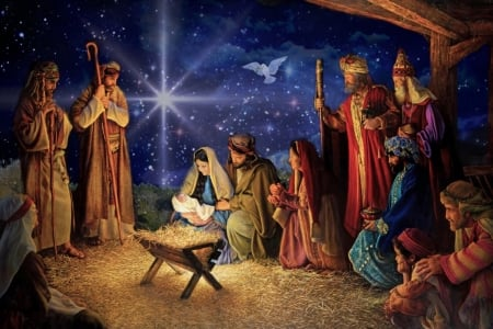 The Birth of Jesus - nativity, christmas, holiday, Birth of Jesus, Jesus Christ, wisemen, shepards, our Savior, Dove, baby, manger, people, love, Joseph and Mary, star, holy spirit