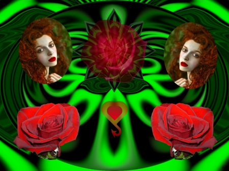 Alure of Red - 3d, fractal, abstracct, collage, eye candy