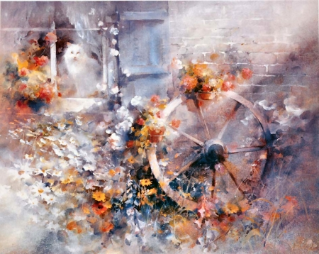Floral Cottage FC - architecture, art, beautiful, illustration, artwork, wagon wheel, feline, Haenraets, painting, flowers, scenery, cats