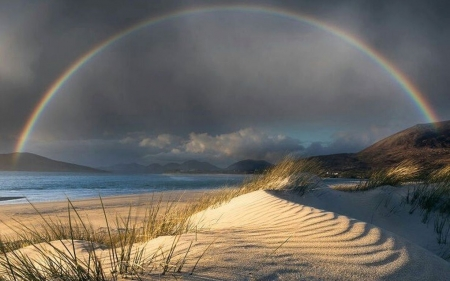 Rainbow above the Beach - beach, rainbow, clouds, dune