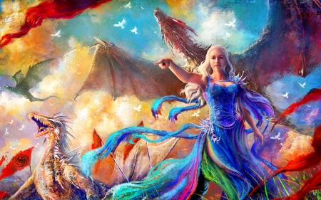 Mother of Dragons - fantasy, magic, dragon, game of thrones