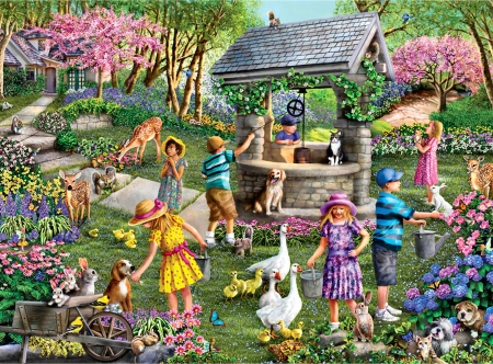 Wishing Well F - architecture, children, beautiful, artwork, deer, canine, geese, painting, wide screen, scenery, art, little girls, pets, trees, wildlife, landscape, dogs