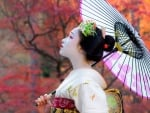 Japanese geisha with umbrella (2048x1280)