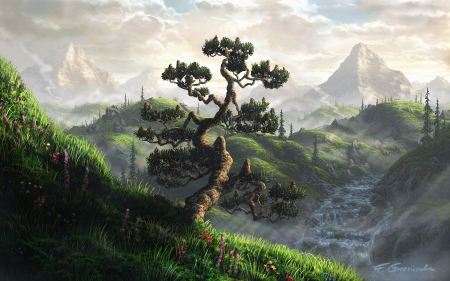 Tree of wisdom - mountain, forest, tree, fantasy, magical world, magic