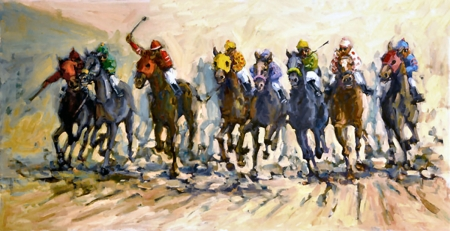 Into the Stretch  - art, equestrian sports, thoroughbred, horse racing, equine, beautiful, horse, artwork, animal, painting, wide screen, thorobred, Kruskamp