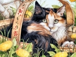 Calico Cat in Basket F