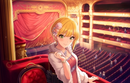 Vip ... - pretty, dress, blond, hd, blush, beautiful, adorable, sweet, nice, anime, beauty, anime girl, stage, female, lovely, blonde, smile, blonde hair, smiling, blond hair, cute, kawaii, girl, jacket, maiden