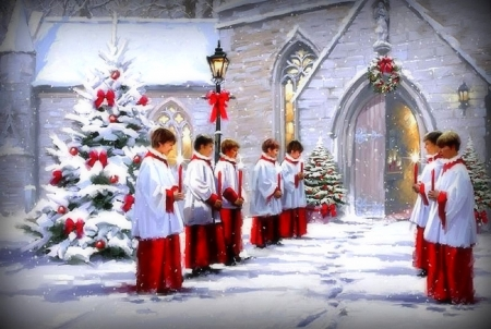Eve of Christmas - Christmas, holidays, love four seasons, Christmas Trees, attractions in dreams, xmas and new year, candles, winter, boys, paintings, snow, churches, chapel