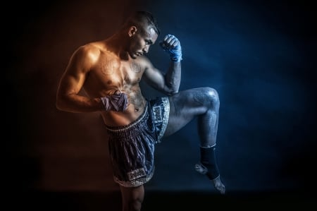 Muay Thai Fighter - gym, athlete, fitness, Muay Thai, Fighter