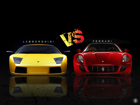 LAMBORGHINI VS FERRARI - red, race, yellow, lamborghini, cars, vs, automobile, ferrari, compare, comparison