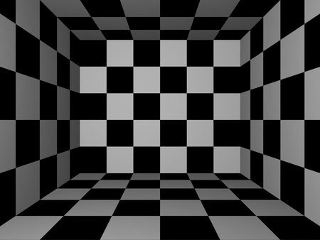 Black white 3d room box squares regfeds checkered black