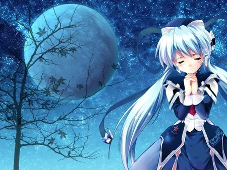 I'm So Lonely - tree, moon, girl, anime