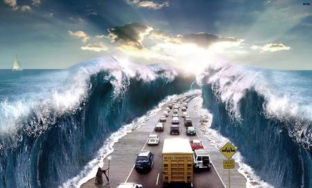Moses Ocean Freeway - freeway, road, ocean, splitting ocean, split water, ocean freeway, moses transports, traffic, cutting ocean