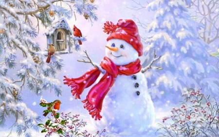 snowman and birds - 3D and CG & Abstract Background ...