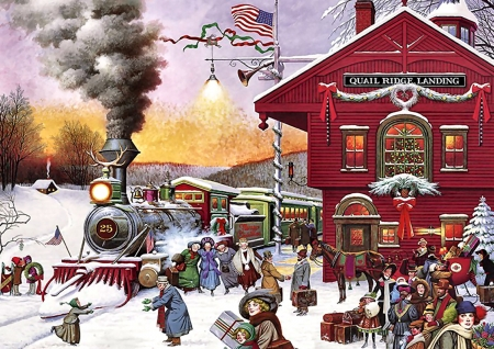 Christmas Whistle Stop F1 - railroad, Christmas, art, locomotive, beautiful, illustration, artwork, winter, train, snow, engine, painting, wide screen, tracks