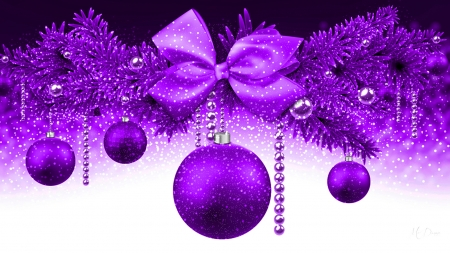 Christmas in Purple - Christmas, purple, balls, Feliz Navidad, tinsel, decorations, ribbons, Firefox Persona theme