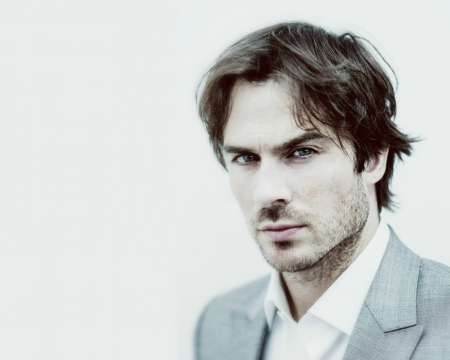 Ian Somerhalder - man, handsome, Ian Somerhalder, blue, actor, face, white