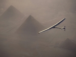 Solar Impulse 2 flies over the pyramids