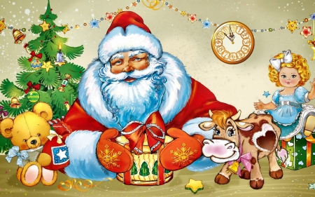 Santa Claus and Gifts FC - Christmas, art, holiday, teddy, December, drum, beautiful, Santa, illustration, artwork, painting, wide screen, occasion, scenery, toys, gifts