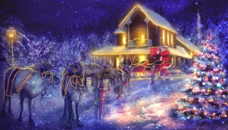 Santa Arriving with Elves - sleigh, Christmas, holidays, glow, Christmas Tree, houses, love four seasons, attractions in dreams, elves, santa claus, xmas and new year, winter, snow, reindeer, light