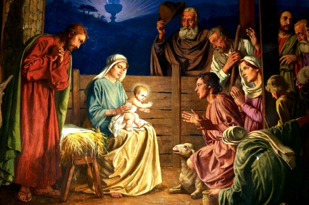 Holy Night - bethlehem, sheep, joseph, painting, stable, child, wise men, mary