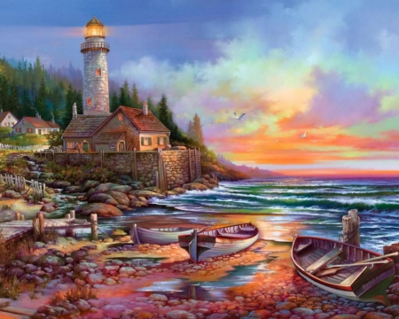 Lighthouse - painting, nature, sunrise, lighthouse, sea