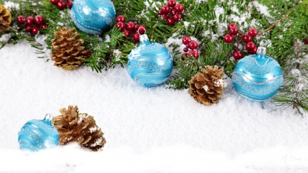 Decorating in the Snow - pine cones, Christmas, snow, Feliz Navidad, decorations, holly berries, blue balls, winter