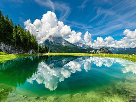 Blue Sky and Lake - Clouds, Forest, Lake, Mountains
