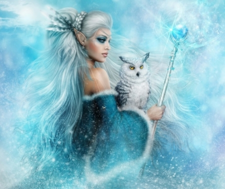 SNOW QUEEN - BLUE, ELF, FEMALE, OWL, WHITE