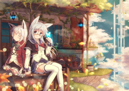 Fantasy World - art, romance, neko, animal, cute, fantasy, city, love, girls, orginal, scenery, friends