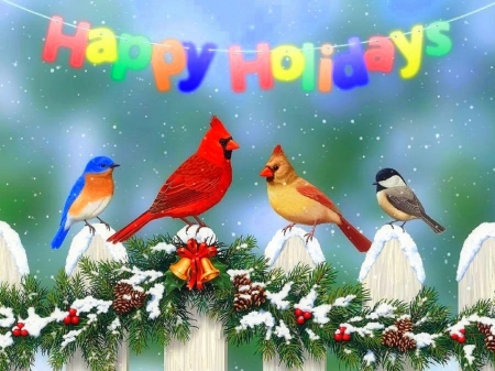Happy Holidays - fence, holidays, Christamas, love four seasons, birds, attractions in dreams, xmas and new year, winter, cardinals, paintings, snow