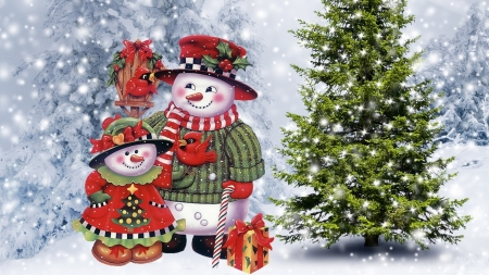 Snowman Family Christmas - Trees, Winter, Nature, Snowmen, Christmas, Holidays